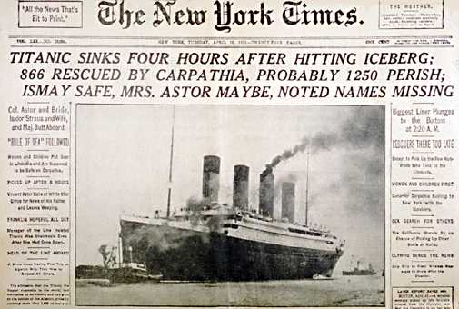 New York Times reports Titanic disaster